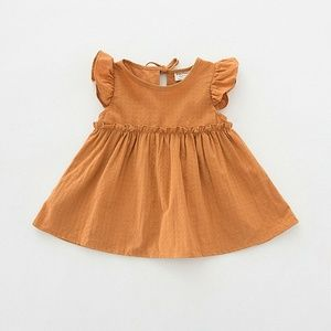 New Boutique Pumpkin Orange Flutter Sleeve Dress